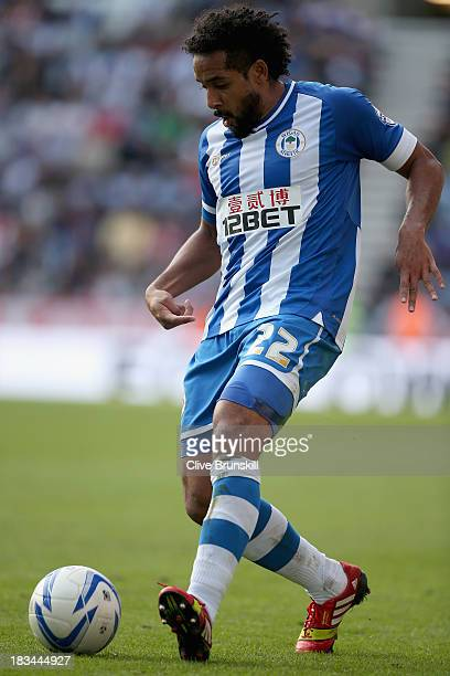 Jean Beausejour of Wigan Athletic in action during the Sky Bet Championship match between Wigan Athletic and Blackburn Rovers at DW Stadium on...