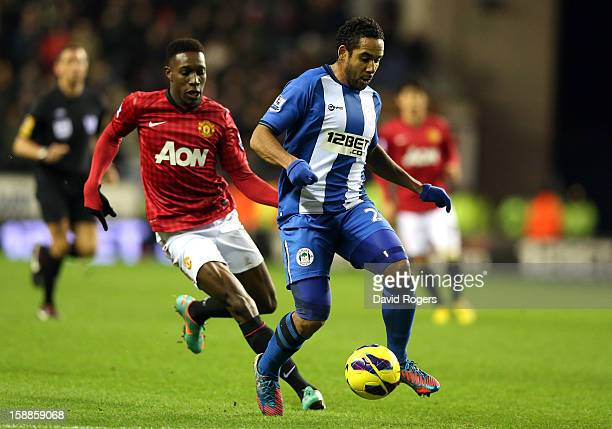 Jean Beausejour of Wigan controls the ball during the Barclays Premier League match between Wigan Athletic and Manchester United at the DW Stadium on...