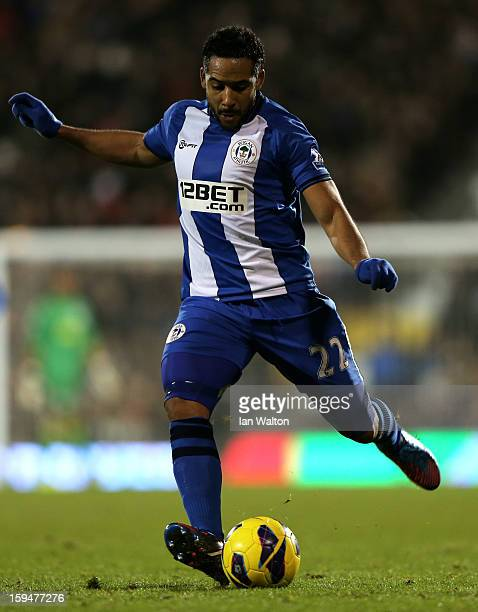 Jean Beausejour of Wigan crosses the ball during the Barclays Premier League match between Fulham and Wigan Athletic at Craven Cottage on January 12...
