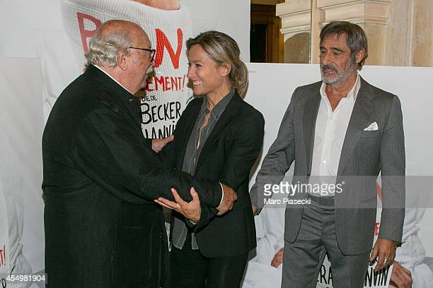 Jean Becker AnneSophie Lapix and Gerard Lanvin attend the 'Bon Retablissement' Premiere at Theatre Edouard VII on September 8 2014 in Paris France
