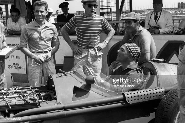 Jean Behra Andre Simon Roberto Mieres Luigi Musso Maserati 250F Grand Prix of Great Britain Aintree Motor Racing Circuit 16 July 1955 Jean Behra in...