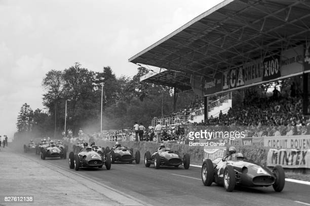 Jean Behra Juan Manuel Fangio Luigi Musso Maserati 250F Ferrari 801 Grand Prix of France RouenLesEssarts 07 July 1957