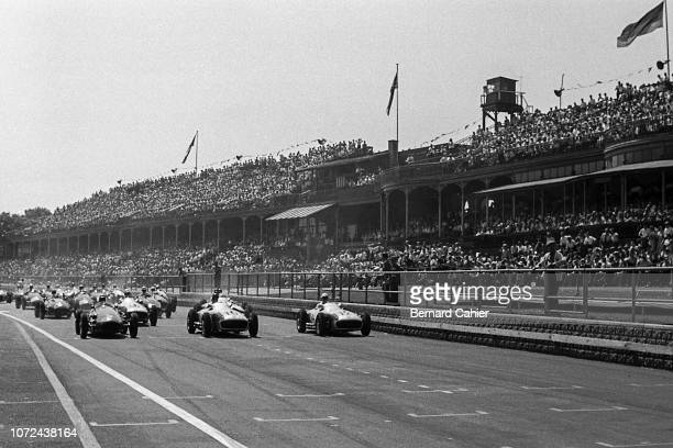 Jean Behra, Juan Manuel Fangio, Stirling Moss, Maserati 250F, Mercedes W196, Grand Prix of Great Britain, Aintree Motor Racing Circuit, 16 July 1955....