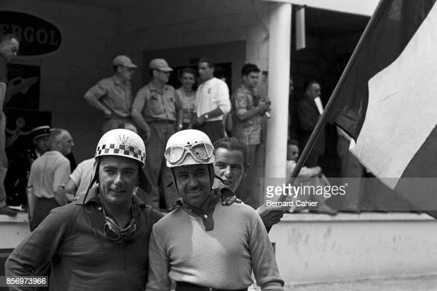 Jean Behra Maurice Trintignant Maserati 250F Ferrari 801 Grand Prix of France RouenLesEssarts 07 July 1957 Top French drivers of the 50' Jean Behra...