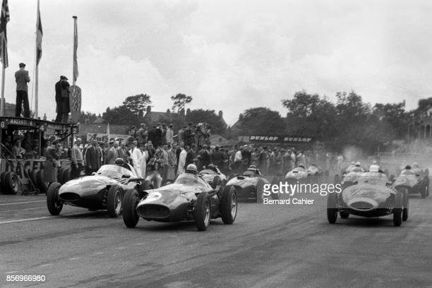 Jean Behra, Tony Brooks, Stirling Moss, Vanwall VW5, Maserati 250F, Grand Prix of Great Britain, Aintree, 20 July 1957.
