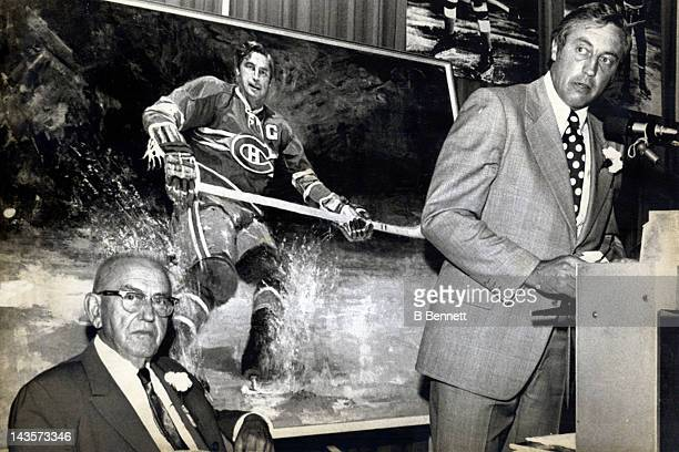 Jean Beliveau former Montreal Canadiens player speaks at the 1974 induction ceremonies after a painting of him was unveiled at the Hockey Hall of...