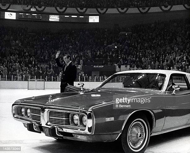 Jean Beliveau gets a standing ovation during the second intermission at the 1973 NHL AllStar Game on January 30 1973 at the Madison Square Garden in...