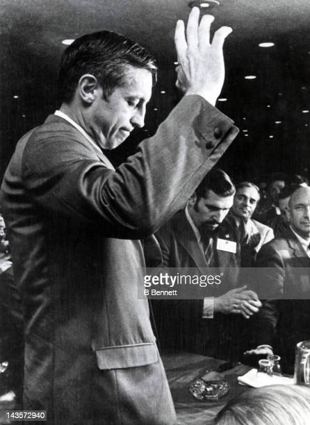 Jean Beliveau of the Montreal Canadiens announces his retirement after 18 years with the team to accept the position of Vice President in charge of...