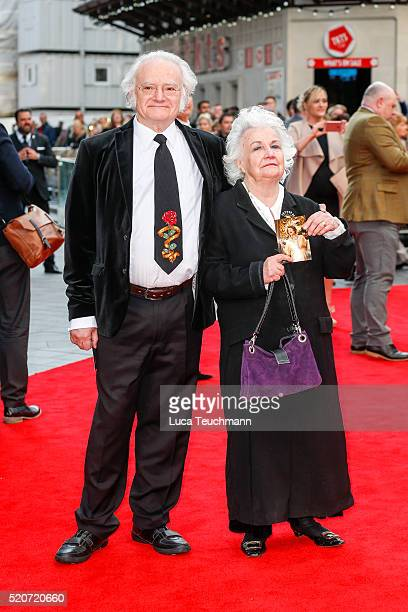 """Jean Boht and Carl Davis arrives for the UK film premiere Of """"Florence Foster Jenkins"""" at Odeon Leicester Square on April 12, 2016 in London, England."""