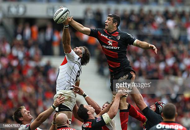 Jean Bouilhou of Toulouse and Juan Martin Fernandez of RC Toulon jump to the ball during the French Top 14 Final match between Toulouse and RC Toulon...
