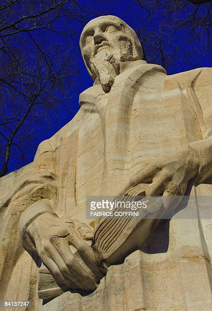 Jean Calvin's statue is seen on December 29, 2008 at the Geneva's Reformation Wall, the 100 meters long monument depicting Protestant figures from...