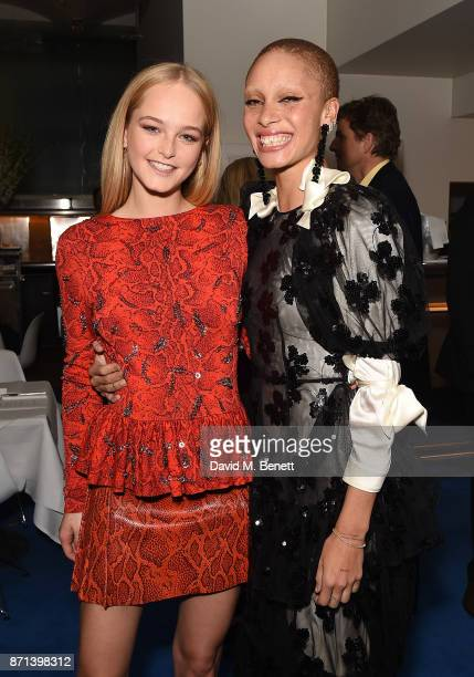 Jean Campbell and Adwoa Aboah attend a dinner hosted by Jonathan Newhouse and Albert Read for Edward Enninful to celebrate the December issue of...