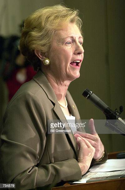 Jean Carnahan widow of Missouri Governor Mel Carnahan reacts to a question during her first official press conference as the new US Senator from...