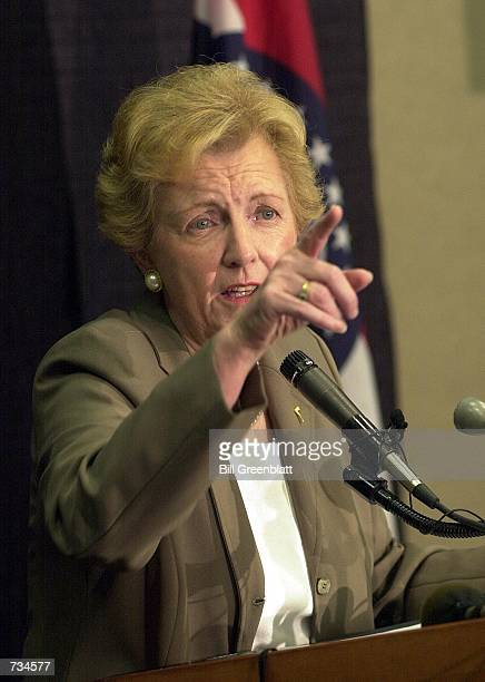 Jean Carnahan widow of Missouri Governor Mel Carnahan takes reporters questions during her first official press conference as the new US Senator from...
