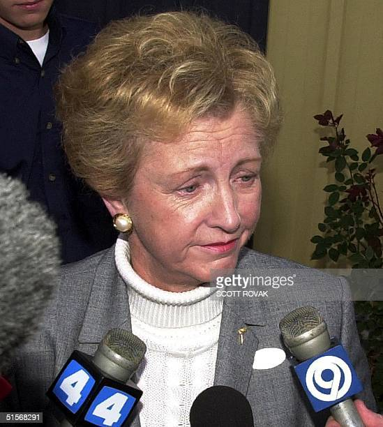 Jean Carnahan widow of the late Democratic Missouri Governor Mel Carnahan speaks briefly to the media 07 November 2000 after casting her ballot...