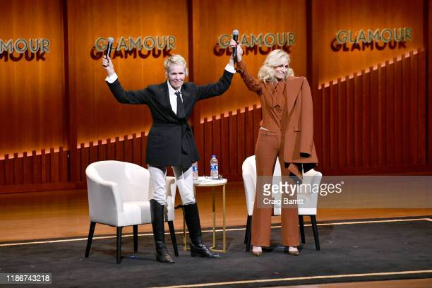 E Jean Carroll and Judith Light speak onstage during the How to Write Your Own Life panel at the 2019 Glamour Women Of The Year Summit at Alice Tully...