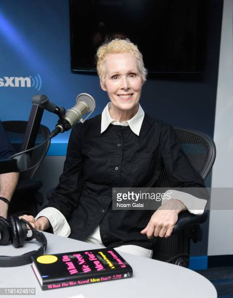 E Jean Carroll visits 'Tell Me Everything' with John Fugelsang the SiriusXM Studios on July 11 2019 in New York City