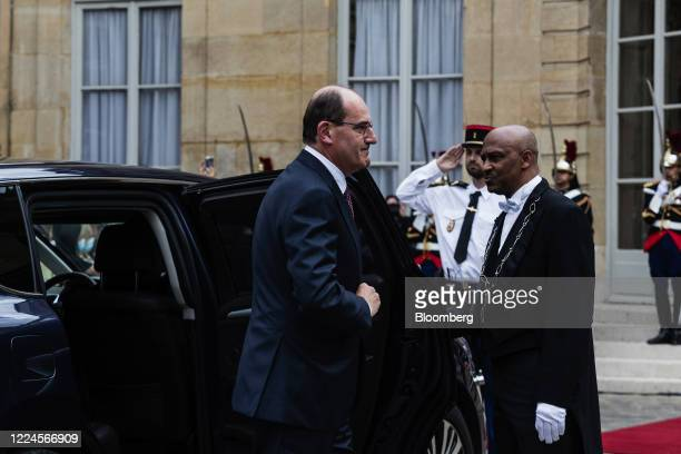 Jean Castex Frances new prime minister arrives for a handover ceremony at the Hotel de Matignon the official residence of the French prime minister...