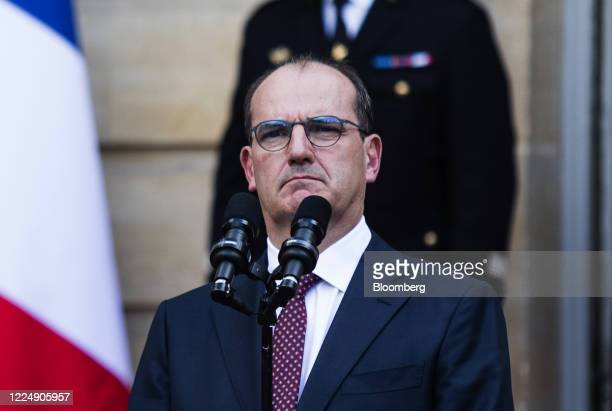 Jean Castex Frances new prime minister pauses during a handover ceremony at the Hotel de Matignon the official residence of the French prime minister...