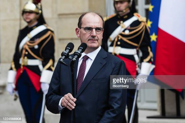 Jean Castex Frances new prime minister pauses while delivering a speech during a handover ceremony at the Hotel de Matignon the official residence of...