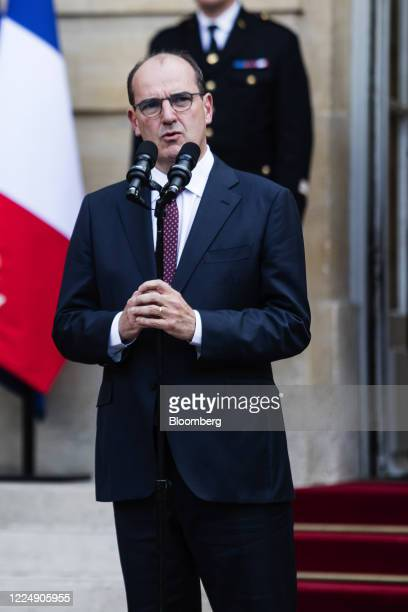 Jean Castex Frances new prime minister speaks during a handover ceremony at the Hotel de Matignon the official residence of the French prime minister...