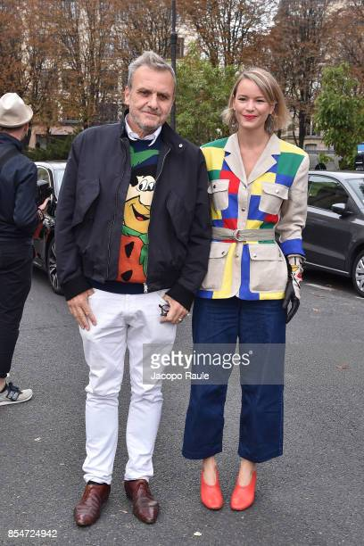 Jean Charles de Castelbajac and Pauline de Drouas are seen arriving at Lanvin fahion show during Paris Fashion Week Womenswear Spring/Summer 2018 on...