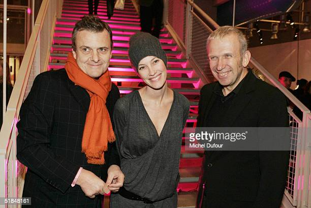 Jean Charles de Castelbajac Mareva Galanter and Jean Paul Gaultier attend a private party featuring christmas trees created by fashion designers held...