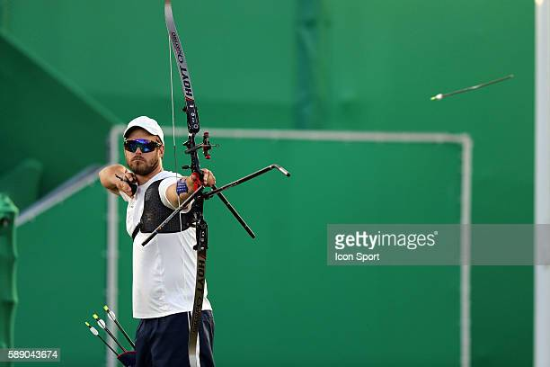 Jean Charles Valladont of France competes in the Men's Individual Archery on Day 7 of the Rio 2016 Olympic Games at Sambodromo on August 12 2016 in...