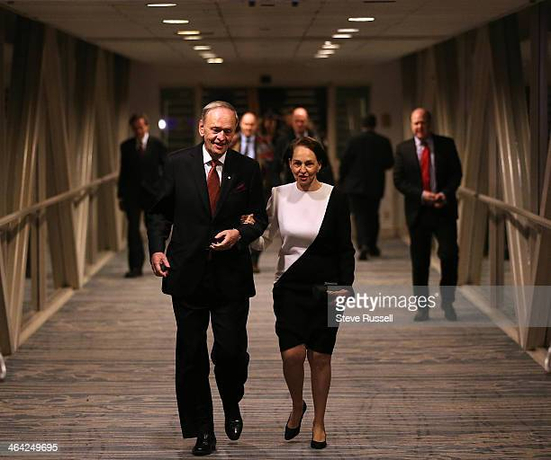 Jean Chretien arrives with his wife Aline at a tribute dinner in his honour at the Westin Harbour Castle in Toronto. January 21, 2014.