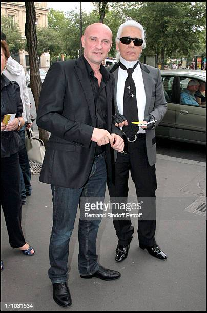 """Jean Christophe Maillot, choreographer and director of the Monte Carlo Ballets and Karl Lagerfeld - Premiere of the play """"La Belle"""" of the Monte..."""