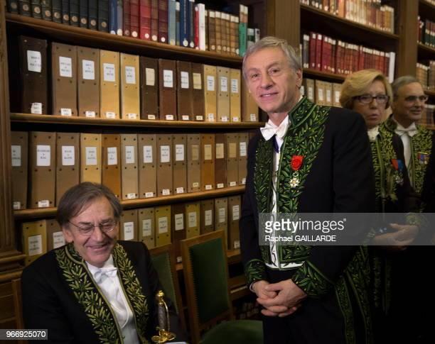 Jean Christophe Rufin lors l'installation de Alain Finkielkraut à l'Académie Française au fauteuil de Félicien Marceau le 28 janvier 2016 Paris France