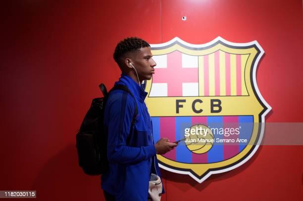 Jean Clair Todibo of FC Barcelona arrives to the stadium during the Liga match between SD Eibar SAD and FC Barcelona at Ipurua Municipal Stadium on...