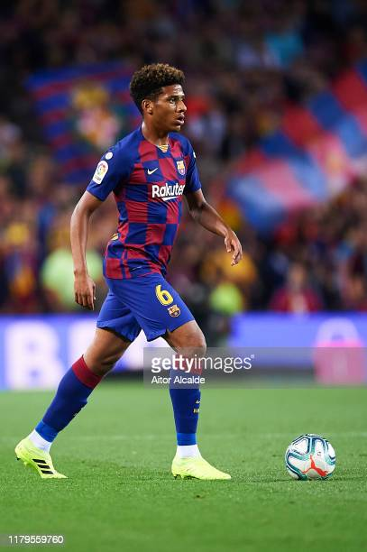 Jean Clair Todibo of FC Barcelona in action during the Liga match between FC Barcelona and Sevilla FC at Camp Nou on October 06, 2019 in Barcelona,...