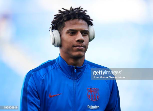 Jean Clair Todibo of FC Barcelona looks on prior to the start the La Liga match between Real Sociedad and FC Barcelona at Estadio Anoeta on December...
