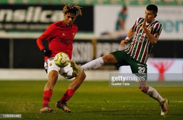 Jean Clair Todibo of SL Benfica with Chapi Romano of Club Football Estrela da Amadora in action during the Portuguese Cup match between Club Football...