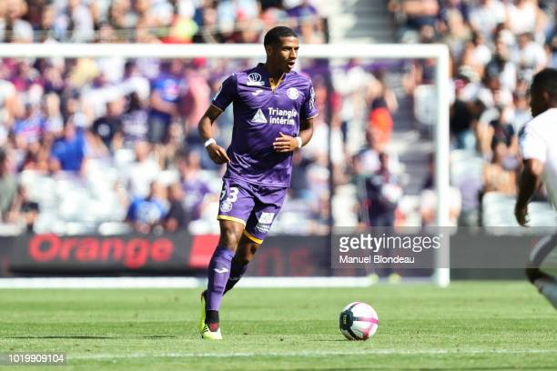 Jean Clair Todibo of Toulouse during the French Ligue 1 match between Toulouse and Bordeaux at Stadium Municipal on August 19 2018 in Toulouse France