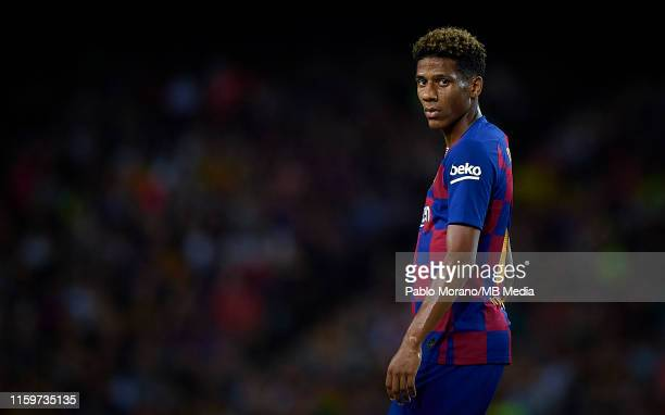 Jean Claire Todibo of Barcelona looks on during the Joan Gamper Trophy match between FC Barcelona and Arsenal FC at Camp Nou on August 4, 2019 in...