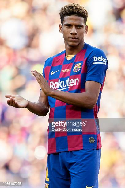 Jean Claire Todibo of FC Barcelona looks on prior the Joan Gamper Trophy match between FC Barcelona and Arsenal at Nou Camp on August 04, 2019 in...
