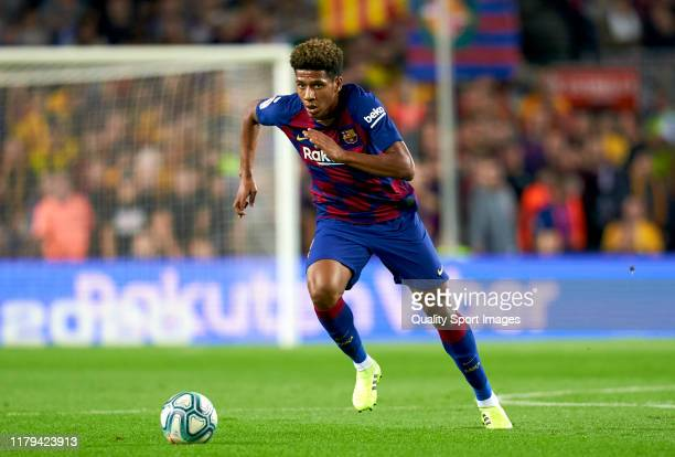 Jean Claire Todibo of FC Barcelona with the ball during the Liga match between FC Barcelona and Sevilla FC at Camp Nou on October 06, 2019 in...