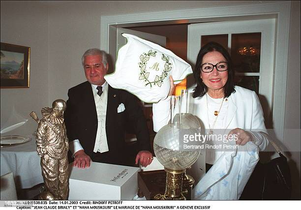 "Jean Claude Brialy and ""Nana Mouskouri"" the wedding of ""Nana Mouskouri"" in Geneva."