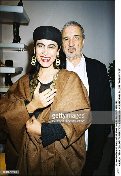 Jean Claude Carriere and wife at Inauguration Of Roger Vivier Salon