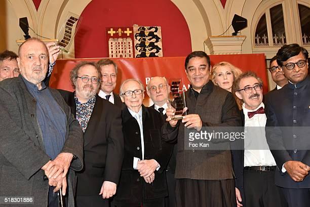 Jean Claude CarrIere director Jaco Van Dormael Belgian ambassador Vincent Mertens a guest Frederic Vidal from Prix Henri Langlois actor Kamal Haasan...