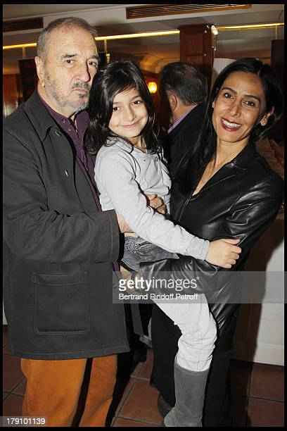 Jean Claude Carriere with wife Nahal Tajadod and their daughter Kiara at The Preview At The Club 13 In Paris Of The Documentary Jean Pierre Coffe...
