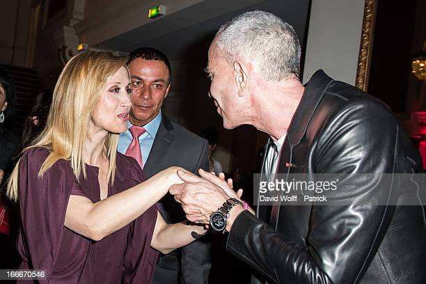 Jean Claude Jitrois greets Lara Fabian the Lara Fabian concert at Theatre de Paris on April 15 2013 in Paris France