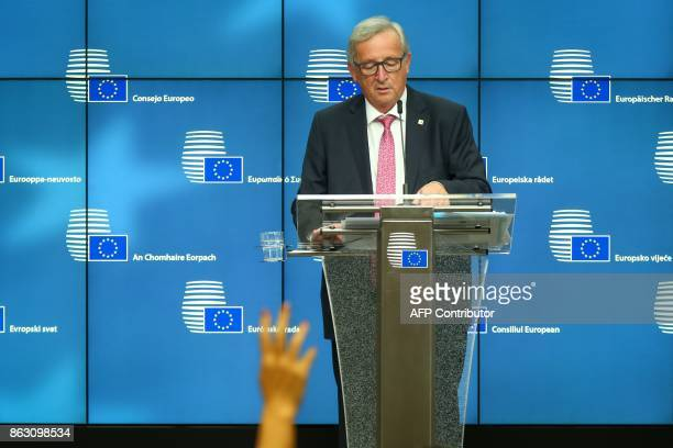 TOPSHOT Jean Claude Juncker President of the European Commission gives a joint press conference with President of the European Council give a joint...