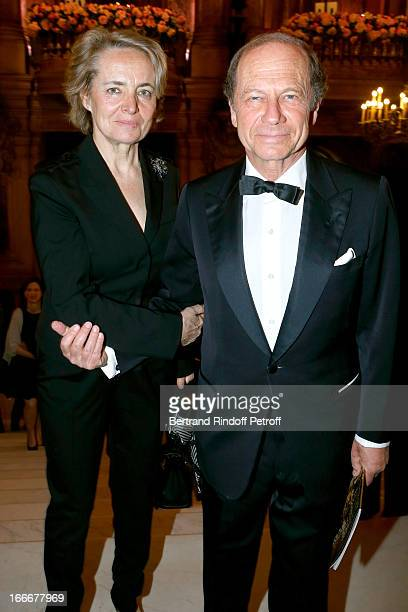 Jean Claude Meyer and companion Anne Claire Taittinger attend Tricentenary of the French dance school AROP Gala at Opera Garnier on April 15 2013 in...