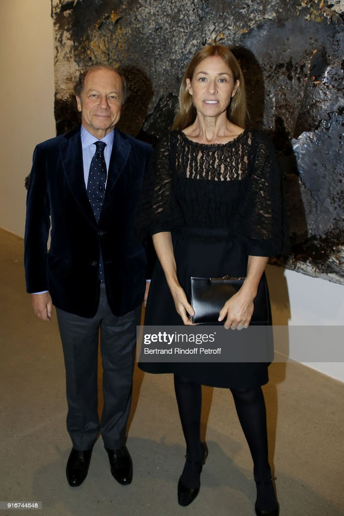 Jean Claude Meyer and Nathalie Bloch Laine attend the 'Fur Andrea Emo' Anselm Kiefer's Exhibition at Thaddeus Ropac Gallery on February 10, 2018 in Paris, France.
