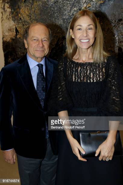 Jean Claude Meyer and Nathalie Bloch Laine attend the 'Fur Andrea Emo' Anselm Kiefer's Exhibition at Thaddeus Ropac Gallery on February 10 2018 in...