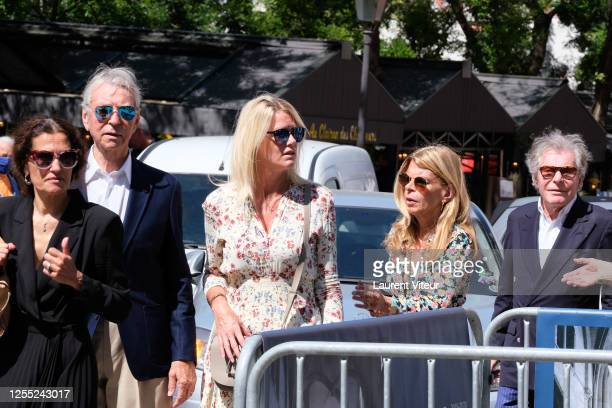 Jean Claude Narcy Alice Bertheaume guest and Jean Daniel Lorieux attend Duchess Hermine de ClermontTonnerre Funeral at Eglise SaintPierre de...