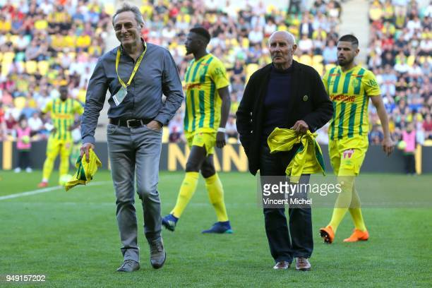 Jean Claude Suaudeau and Raynald Denoueix former legendary headcoaches of Nantes during the Ligue 1 match between Nantes and Rennes at Stade de la...